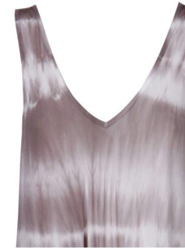 made in italy γκρί λευκό μακρύ φόρεμα