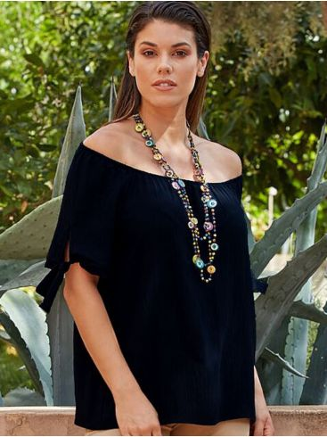 RAXSTA Γυναικεία μαύρη μπλούζα off shoulder. B20105 BLACK