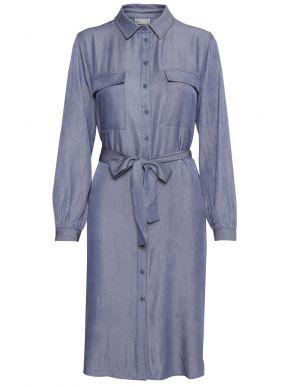 FRANSA Μακρυμάνικο τζιν φόρεμα με γιακά