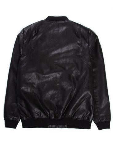 BASEHIT Ανδρικό μαύρο μπουφάν PU, 192.BM16.10 PU BLACK