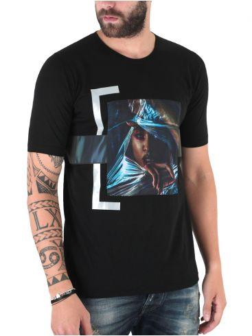 STEFAN Ανδρικό κοντομάνικο μαύρο μπλουζάκι T-Shirt τρουακάρ
