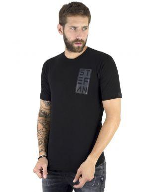 STEFAN Ανδρικό κοντομάνικο μαύρο μπλουζάκι T-Shirt 3517