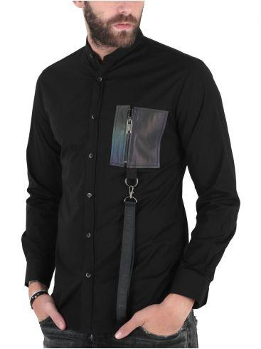 STEFAN Ανδρικό μαύρο μακρυμάνικο πουκάμισο μάο