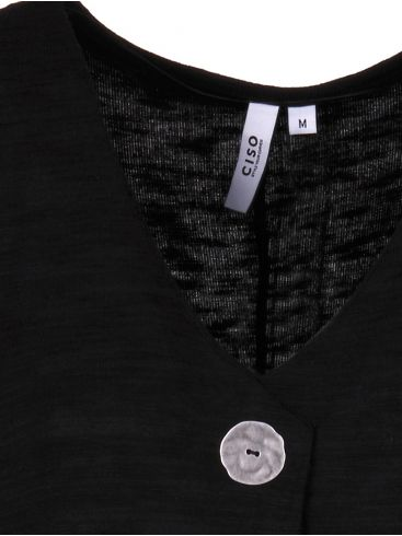 ciso Γυναικεία μαύρη πλεκτή μακριά ζακέτα
