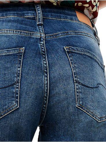 SOLIVER Γυναικείο πολύχρωμο ελαστικό καρό παντελόνι με ρεβέρ