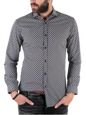 STEFAN Ανδρικό μακρυμάνικο μεσάτο πουκάμισο, slim fit