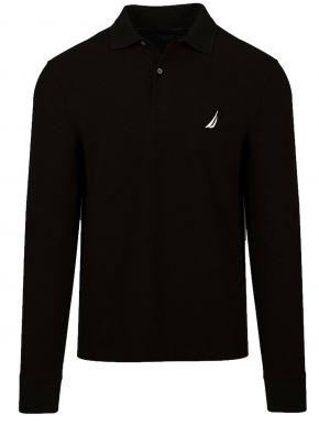 NAUTICA Ανδρική μαύρη μακρυμάνικη πικέ πόλο μπλούζα K03150-0TB BLACK