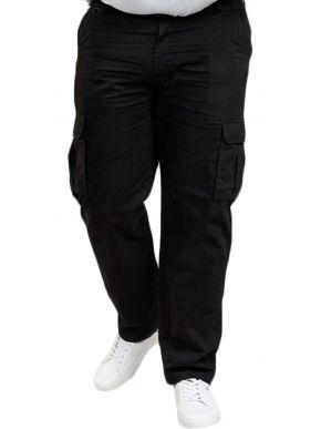 DUKE Ανδρικό μαύρο cargo παντελόνι, φαρδιά γραμμή (46-56)