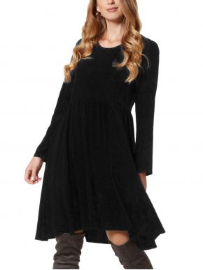 ANNA RAXEVSKY Μαύρο μακρυμάνικο φόρεμα, σούρες στην μέση
