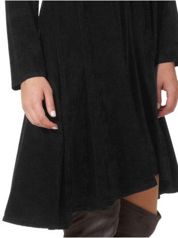 raxsta Μαύρο μακρυμάνικο φόρεμα, σούρες στην μέση