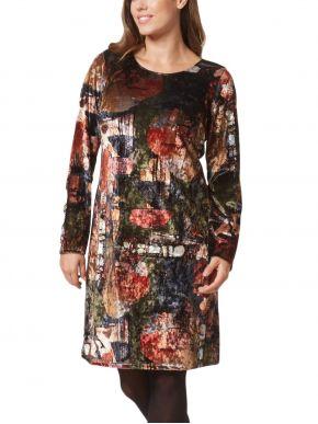 ANNA RAXEVSKY Βελούδινο εμπριμέ φόρεμα, λαιμόκοψη χαμόγελο, ίσια γραμμή