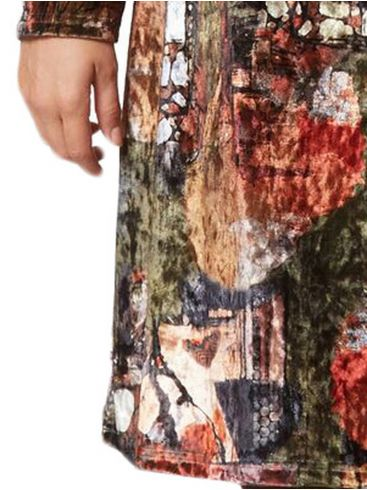 RAXSTA Βελούδινο εμπριμέ φόρεμα, λαιμόκοψη χαμόγελο, ίσια γραμμή