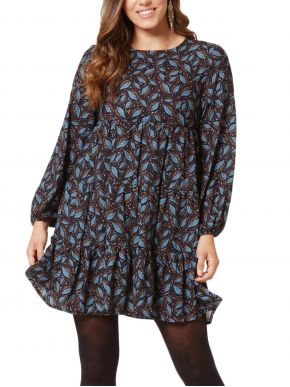 ANNA RAXEVSKY Μακρυμάνικο εμπριμέ φόρεμα, σχέδια φύλλων, σούρες, φερμουάρ πλάτης