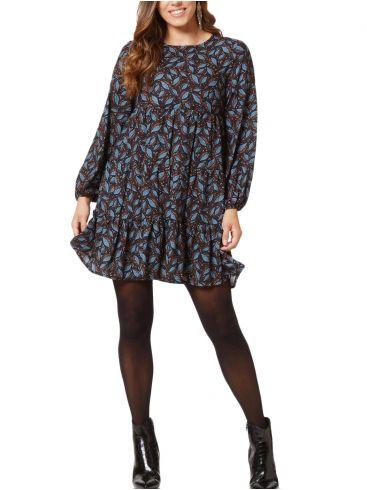 RAXSTA Μακρυμάνικο εμπριμέ φόρεμα, σχέδια φύλλων, σούρες, φερμουάρ πλάτης