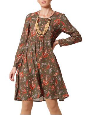 ANNA RAXEVSKY Μακρυμάνικο φόρεμα, σούρες στην μέση, άνετη γραμμή
