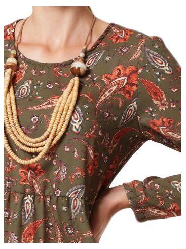 RAXSTA Μακρυμάνικο φόρεμα, σούρες στην μέση, άνετη γραμμή