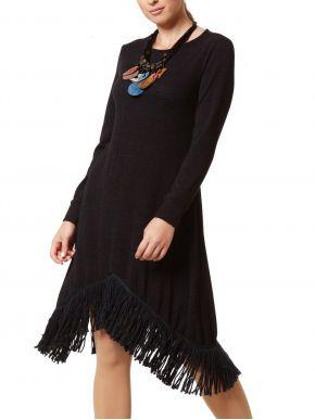 ANNA RAXEVSKY Πλεκτό μαύρο μακρυμάνικο φόρεμα, μανσέτες μανίκιων, κρόσια