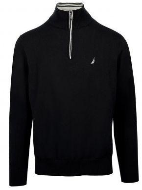 NAUTICA Ανδρική μαύρη πλεκτή μπλούζα με φερμουάρ S03102-0TB