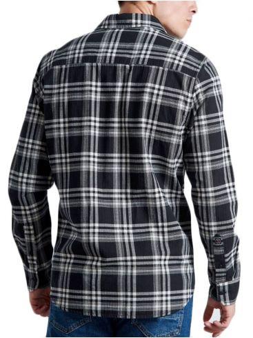 FUNKY BUDDHA Ανδρικό ασπρόμαυρο καρό flannel πουκάμισο  FBM00102905 INDIGO