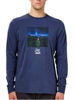 BASEHIT Ανδρική μπλέ μακρυμάνικη μπλούζα, στάμπα 202.BM31.38 Midnight Blue