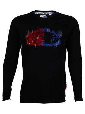 AMERICANINO Ανδρική μαύρη μακρυμάνικη μπλούζα