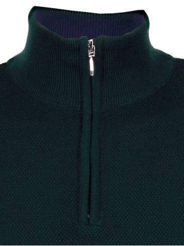 SEAL Πράσινη πλεκτή μπλούζα, γιακάς με φερμουάρ
