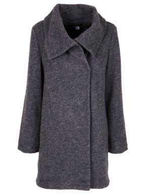 ALE Γυναικείο γκρί τσόχα παλτό, κλείσιμο με κρυφά κουμπιά