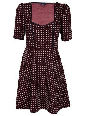 ATTRATTIVO Ελαστικό κοντομάνικο πολύχρωμο midi φόρεμα