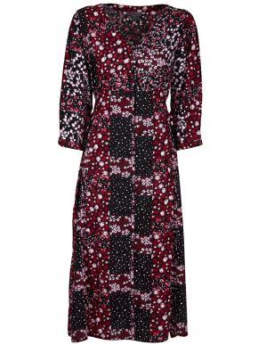 ATTRATTIVO Μακρυμάνικο φλοράλ μακρύ φόρεμα