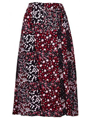 ATTRATTIVO Εμπριμέ φλοράλ φούστα, κλείσιμο μπροστά με κουμπιά,