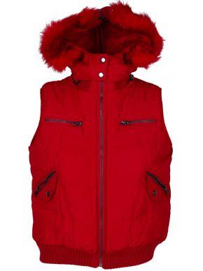 MILLS Γυναικείο κόκκινο αμάνικο ενισχυμένο μπουφάν