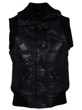 MILLS Γυναικείο μαύρο μεσάτο ενισχυμένο αμάνικο μπουφάν