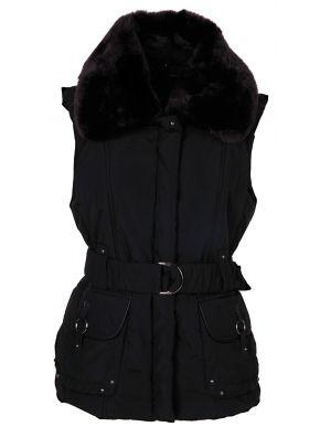 MOX Γυναικείο μαύρο μεσάτο ζεστό αμάνικο μπουφάν