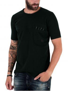 STEFAN Ανδρικό μαύρο μπλουζάκι T-Shirt με παραμάνες