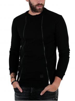 STEFAN Ανδρικό μαύρο φούτερ, διακοσμητικά φερμουάρ slim fit