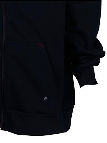 EVERBEST Ανδρικό μαύρη μακρυμάνικη τρίκλωνη ζακέτα φούτερ