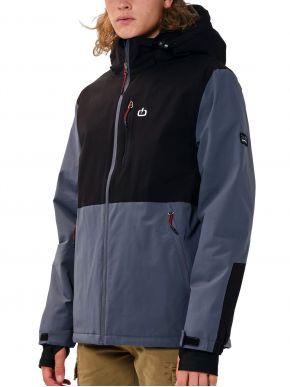 EMERSON Ανδρικό γαλάζιο μαύρο φλίς μπουφάν 202.EM10.76 Grey Black