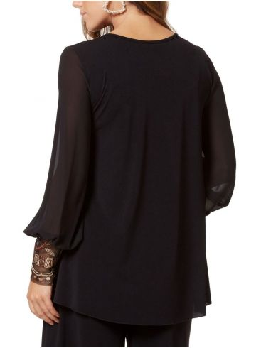 RAXSTA Γυναικεία πολύχρωμη μακρυμάνικη μπλούζα με κέντημα