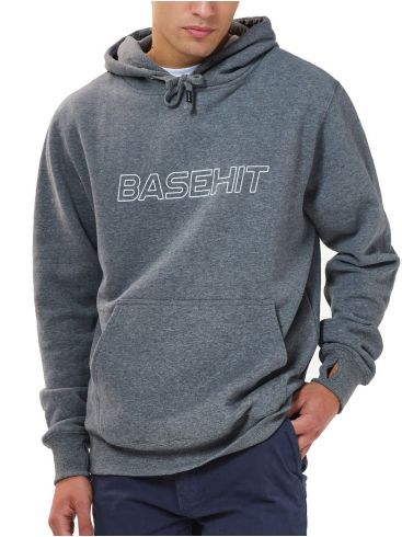 BASEHIT Ανδρικό γκρί φούτερ με κουκούλα 202.BM20.02 Dark Grey