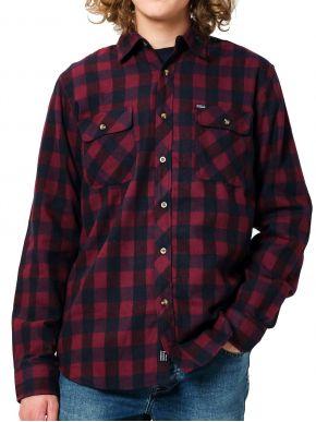 EMERSON Ανδρικό καρό πουκάμισο 202.EM60.80 Em25 Wine Navy