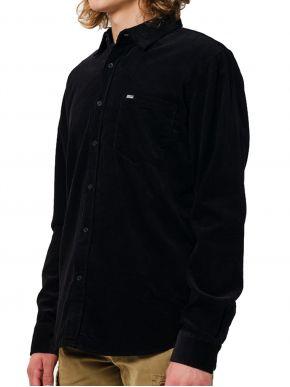 EMERSON Ανδρικό μαύρο κοτιλέ πουκάμισο, τσέπη. 202.EM60.10A Black