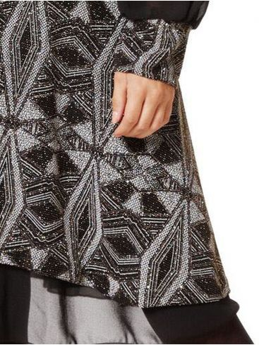 RAXSTA Ασπρόμαυρο λούρεξ κρουαζέ φόρεμα