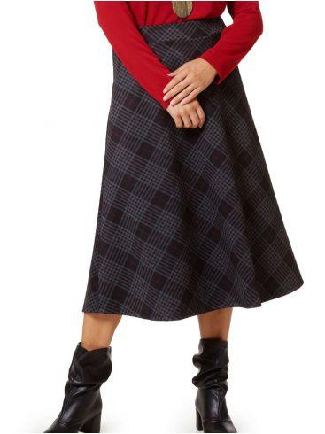 RAXSTA Καρό ψηλόμεση μίντι φούστα, γραμμή κλος