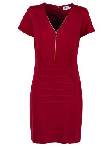BRAVO Κοντομάνικο μπορντό pencil ελαστικό φόρεμα V