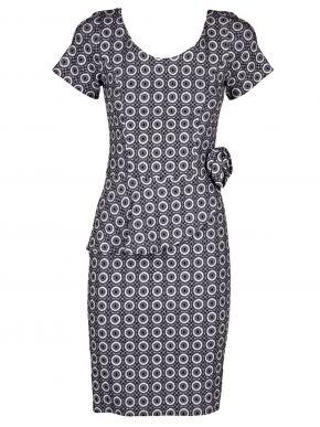 BRAVO Κοντομάνικο ασπρόμαυρο pencil ελαστικό φόρεμα