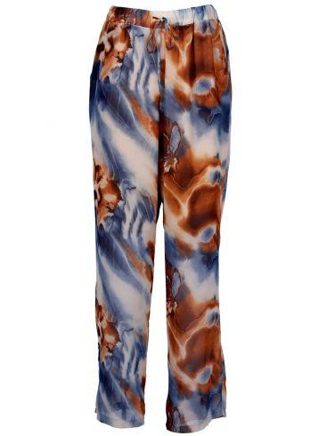 ZINO JORDAN Βραδινή εμπριμέ παντελόνα μουσελίνα, πλαϊνές τσέπες