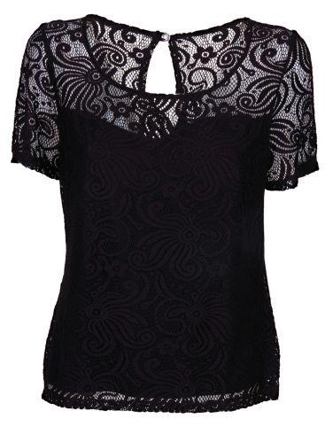 BRAVO Βραδινή μαύρο δαντελωτή μπλούζα