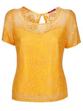 More about BRAVO Βραδινή κίτρινη δαντελωτή μπλούζα