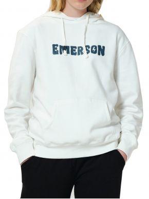 EMERSON Γυναικείο λευκό φούτερ, κουκούλα 202.EW20.67 White