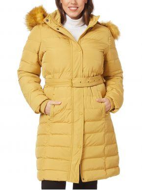 RAXSTA Γυναικείο μουσταρδί μακρύ μπουφάν, αποσπώμενη κουκούλα με γούνα